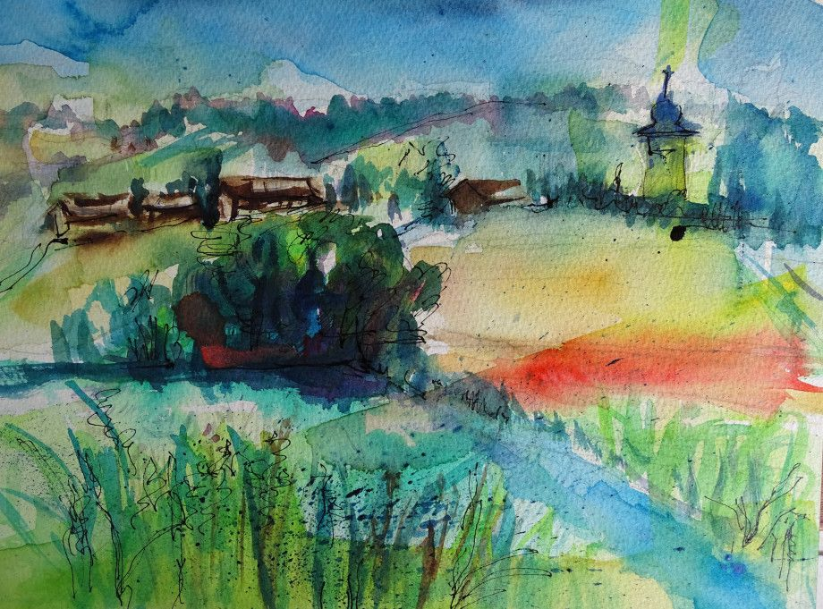 Watercolour by Nadia Baumgart: Bavarian summer - Bad Birnbach