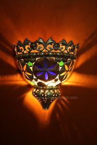 Metal Half Moon Wall Sconce With Multicolor Gl Lighting Sconces Coloured