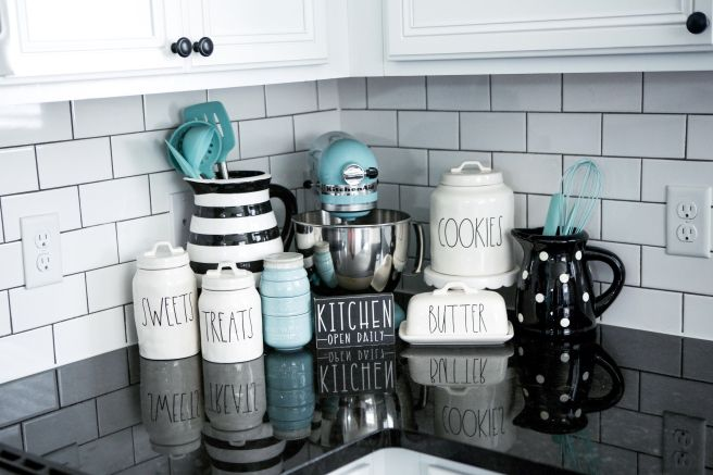 Black White And Teal Rae Dunn Kitchen Display Source