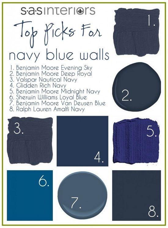 Navy blue walls - I like the SAS interiors Blog and find their postings always interesting.  There are several Bennie Moore navy's on here. If you are afraid of using a dark color on all walls, try using it as an accent color, paint the trim a darker color, or just one wall. Use a lighter coordinating on the other three | http://apartmentdesigncollections.blogspot.com