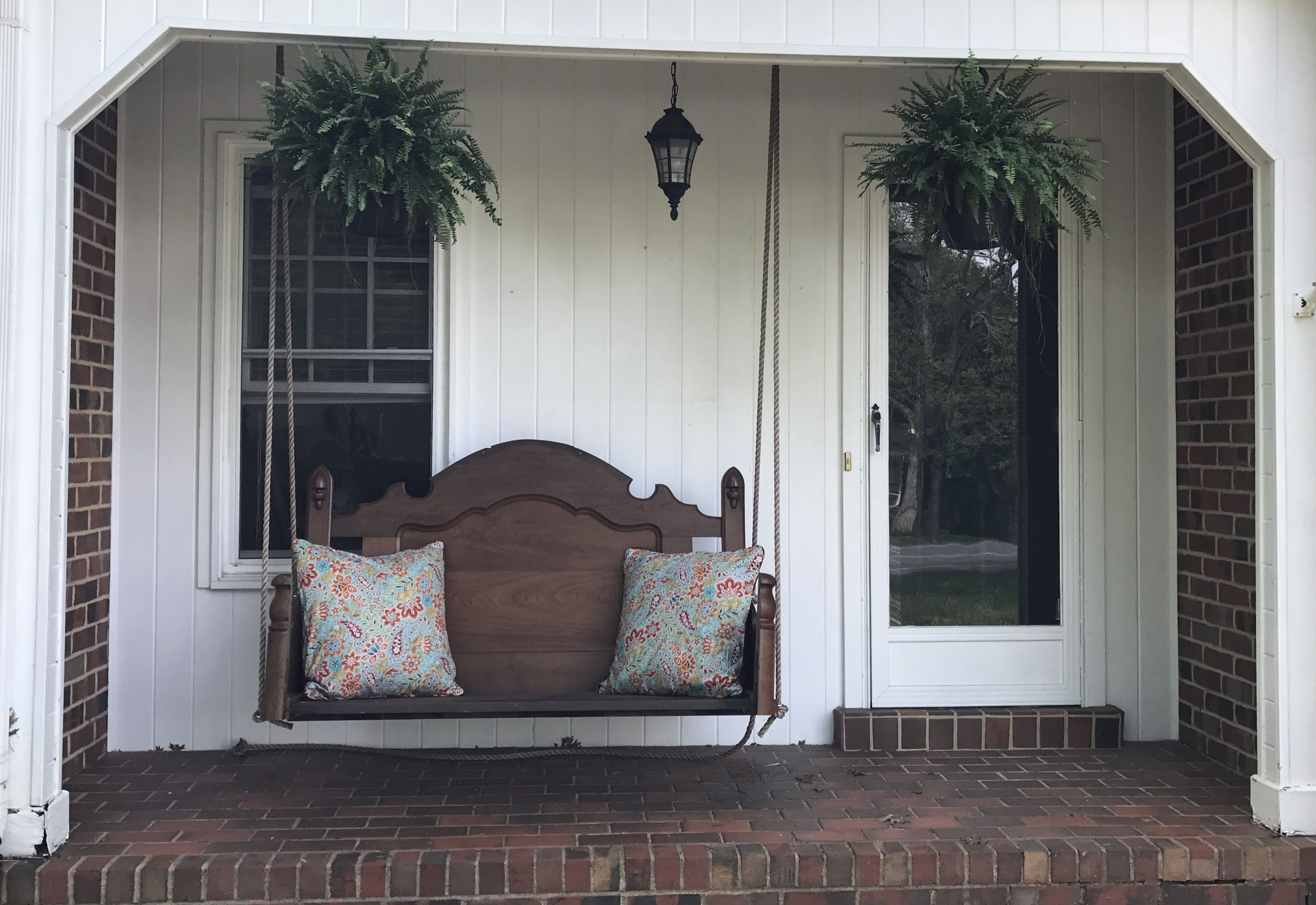 Swing Made From A Full Sized Headboard And Footboard Porch Swing