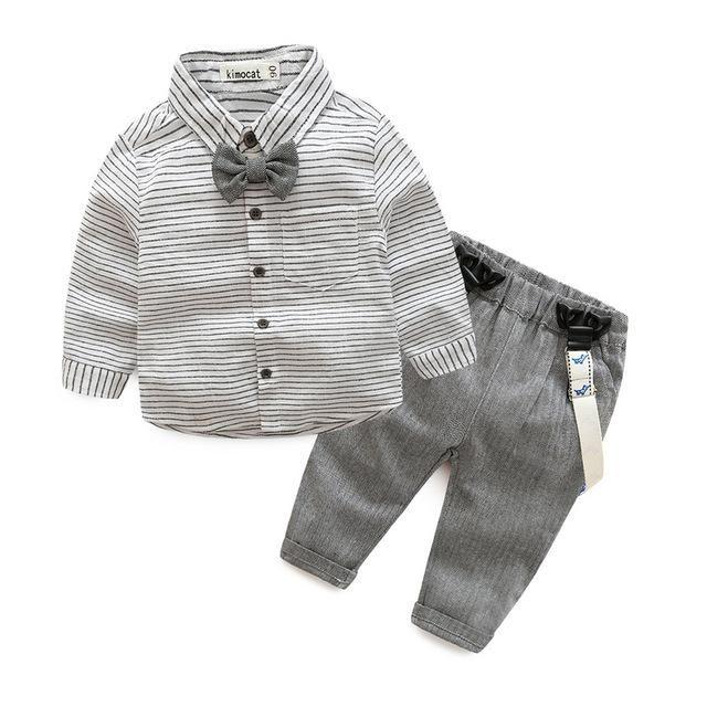 70e4e9e86 Gentleman Striped Shirt+Overalls Set