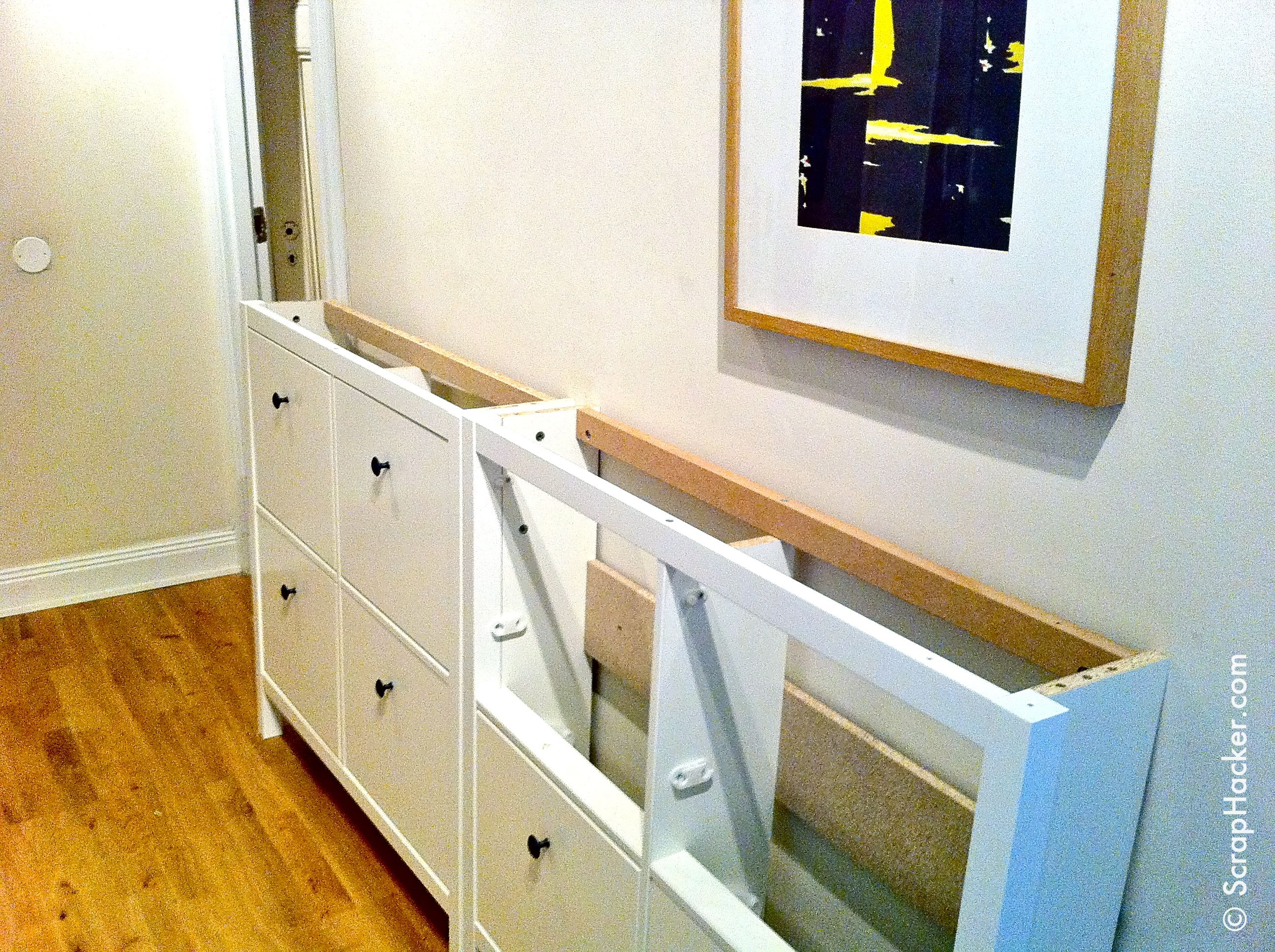 Remove the tops of the hemnes cabinets entryway hallway Meuble a chaussure ikea hemnes