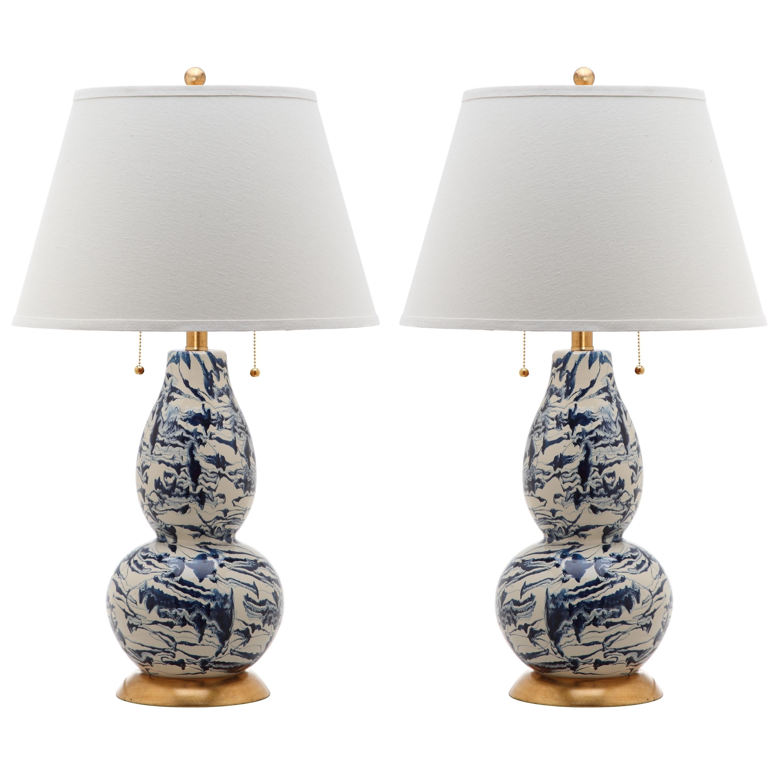 Safavieh Indoor Navy And White Color Swirls Gl Table Lamp Set Of