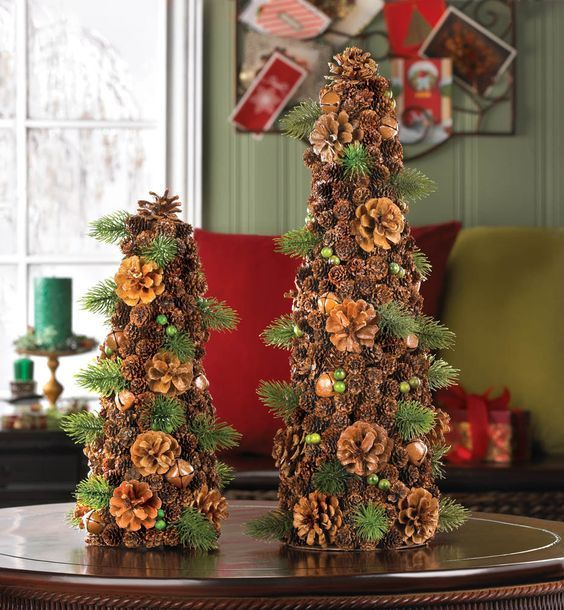 Salzburg Creations Burgundy And Rose Gold Fireworks: Large Pine Cone Tree Decor