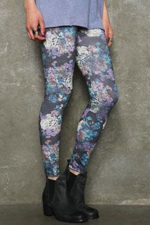 Faded Floral Bunched Leggings