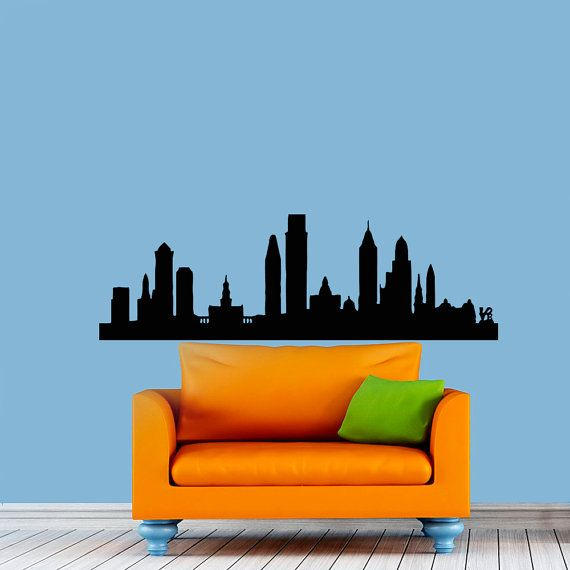 Philadelphia Skyline City Silhouette Wall Vinyl Decal ...