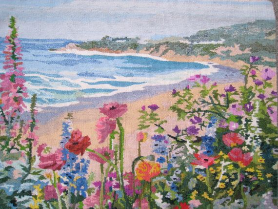 SALE SUMMER Garden Beach Scene Hand Made Tapestry by Esoterique50, $99.00