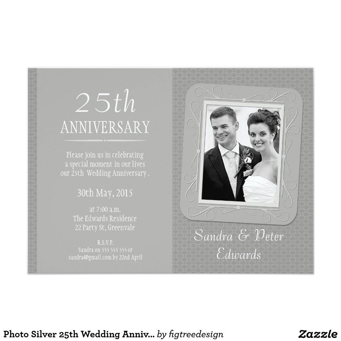 Photo Silver 25th Wedding Anniversary Invitation | Pinterest ...