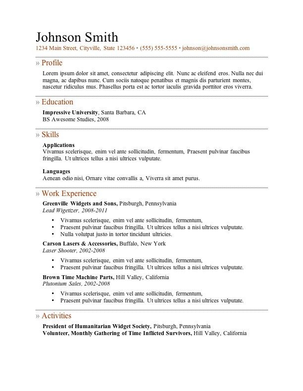 free resume template 4 - Resume Outlines