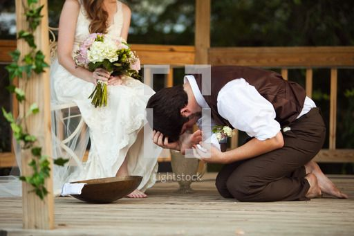 Groom Washing His Bride S Feet And Kissing Them Just Like Jesus Did For His Disciples Botanical Wedding Wedding Christian Wedding