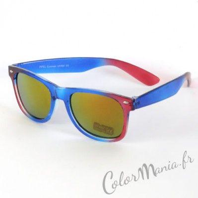 b285e14a5a948e Lunettes de Soleil type Wayfarer Ombré Rouge   Bleu   Lunettes de ...