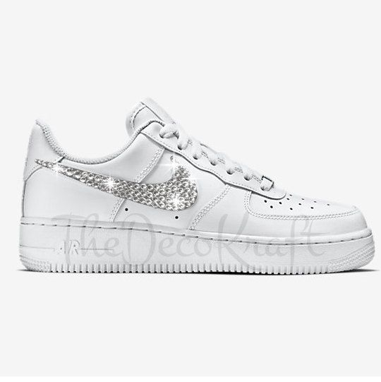 Custom Bling Womens Nike Air Force 1 07 White Swarovski Crystal Bling  Sneakers cdbf4c10c8