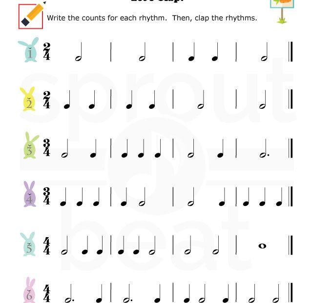 Music-Worksheets-Easter-Rhythm-002 | music | Pinterest | Musik