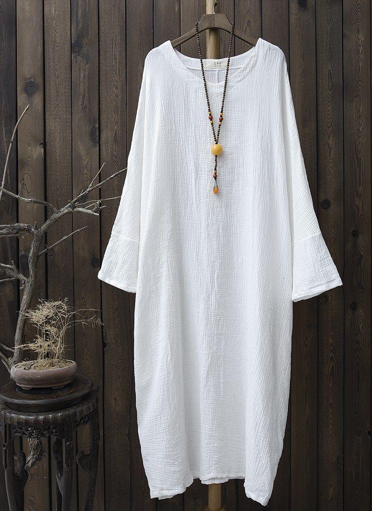 c135341009 Plus big size Batwing Cotton Women Long Dress Oversized Zen style ...