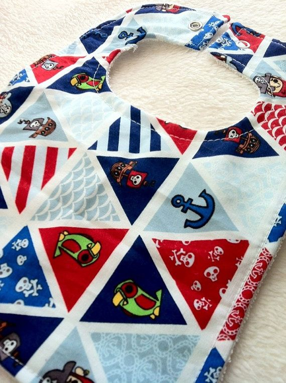 Baby Boy Pirate Bib Anchors, Skulls & Pirate Ship motif. $4.50   https://www.etsy.com/listing/156560001/baby-bib-for-boys-the-proud-pirate-print?ref=shop_home_active