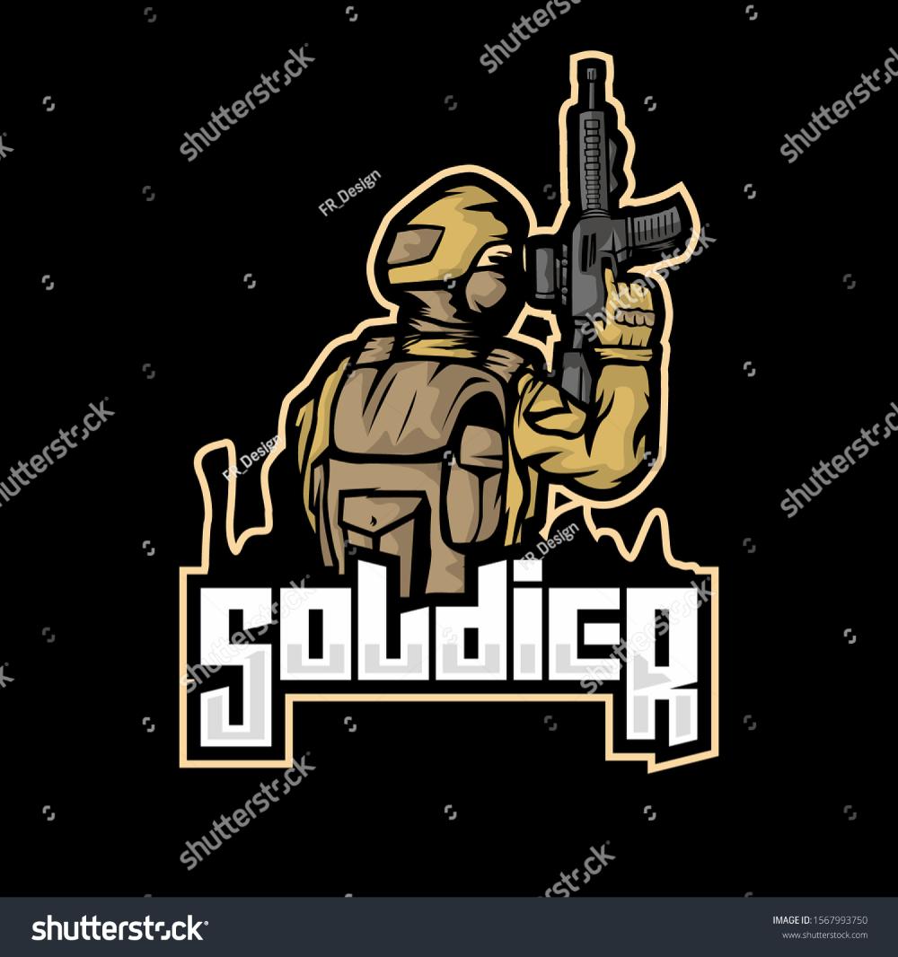 Soldier Illustration mascot for ESport logo (Dengan gambar)