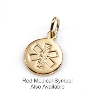 14k gold petite red or outline medical id charms medical 14k gold petite red or outline medical id charm 38 inch mozeypictures Choice Image