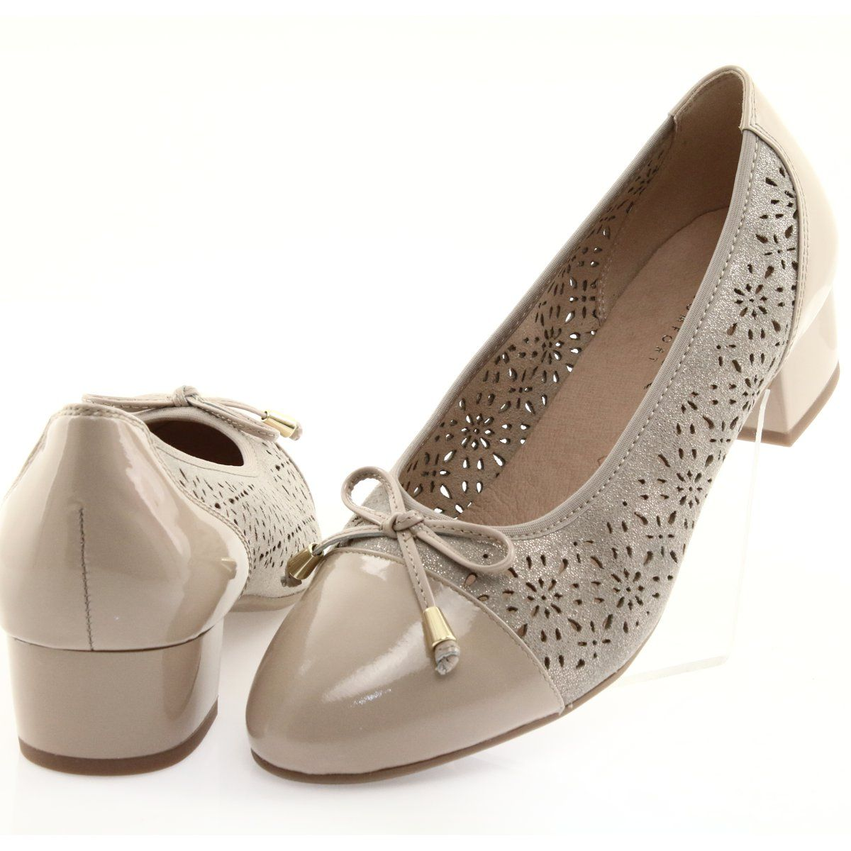 Czolenka Damskie Caprice 22501 Bez Bez Zloty Bezowy Women Shoes Beautiful Pumps Pumps