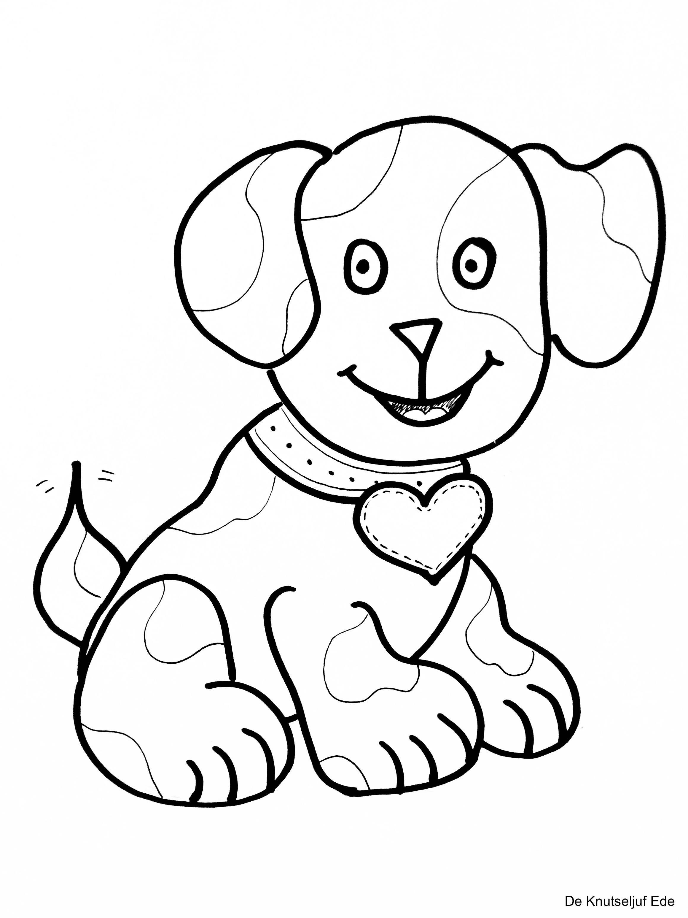 Kleurplaten Honden Kleurplatenhondenpuppies Hondjes Huisdieren Knipplaat Tekeninghond De Knutseljuf Ede Honden Schoothondjes Kleurplaten