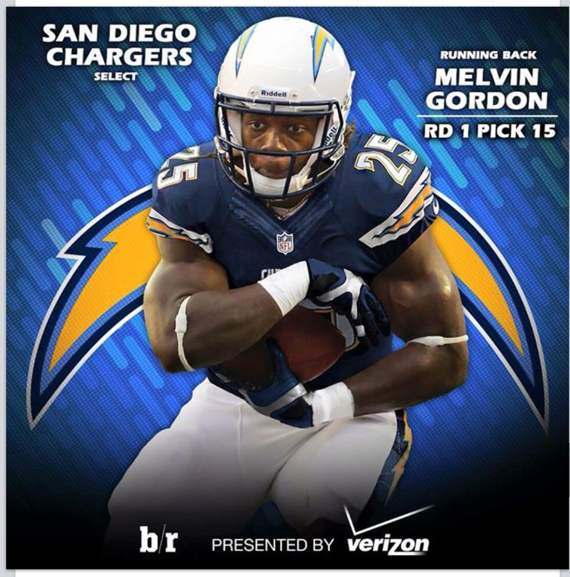 Melvin Gordon Draft Pick 2015 San Diego Chargers Chargers Nfl Football And Basketball