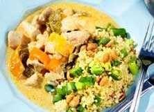 Kyckling i röd curry med jord...