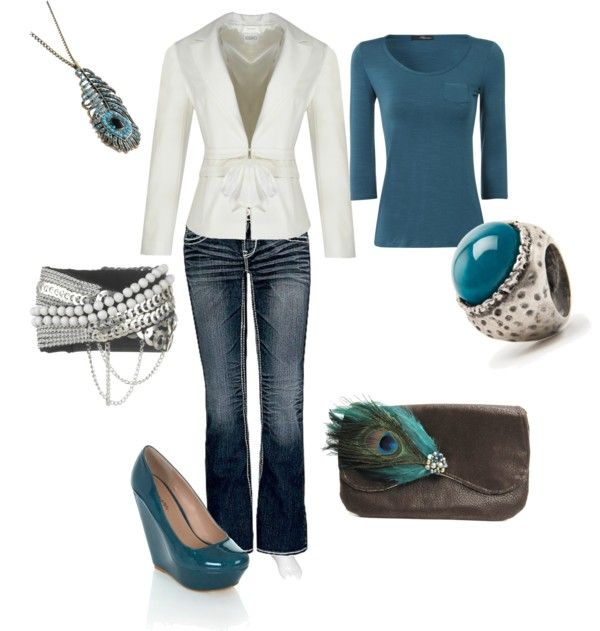 """White & Teal"" by amyjoyful1 on Polyvore"