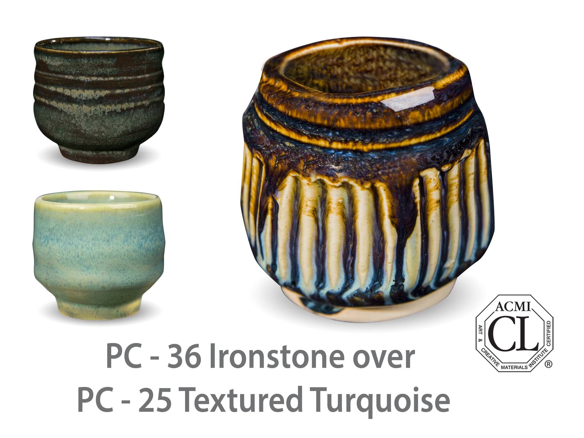 AMACO Potter's Choice layered glazes PC - 25 Textured Turquoise and PC - 36 Ironstone.