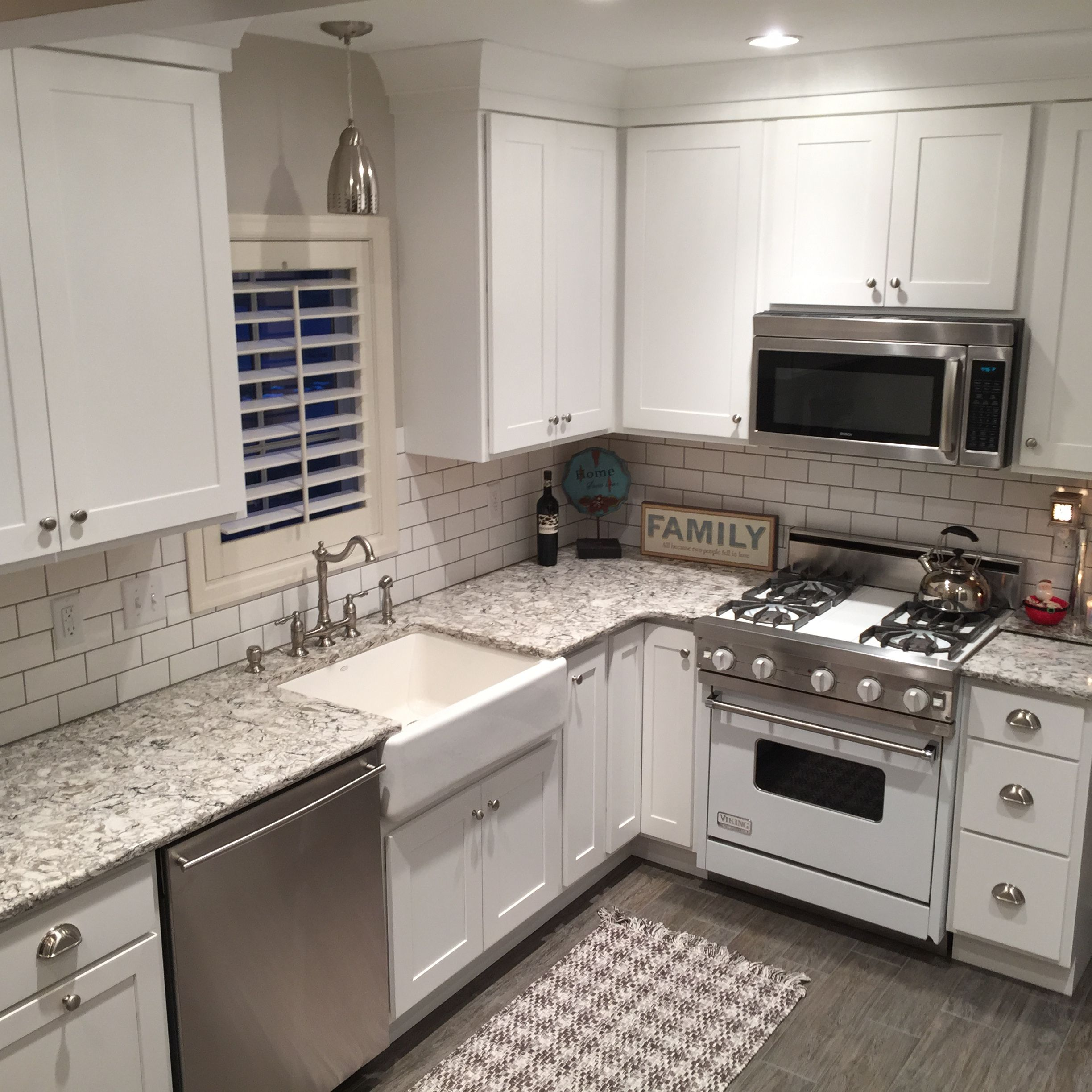 We added cambria bellingham countertops with a white farm for Cambrian kitchen cabinets