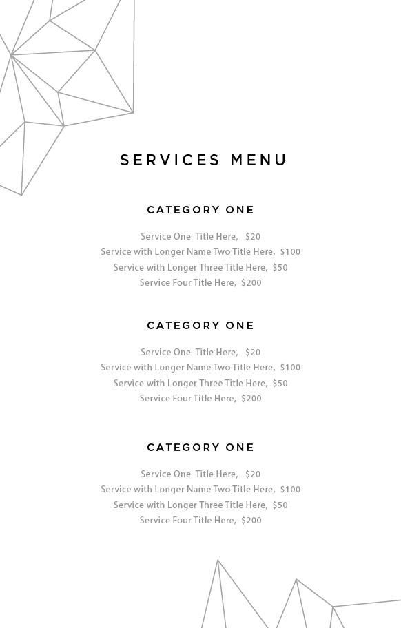 service menu template