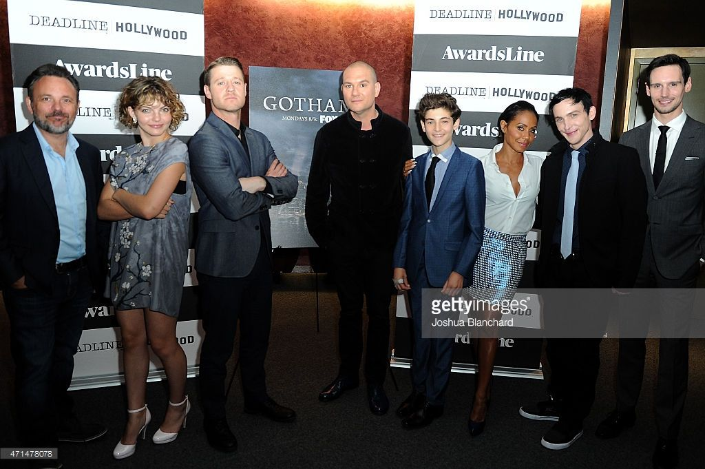 Danny Cannon, Camren Bicondova, Benjamin McKenzie, Dominic Patten, David Mazouz, Jada Pinkett Smith, Robin Taylor and Cory Michael Smith attend the Awardsline/Deadline Hollywood Screening of Fox's 'Gotham' at Landmark Theatre on April 28, 2015 in Los Angeles, California.