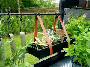 Växthushylla med läderremmar Juliana
