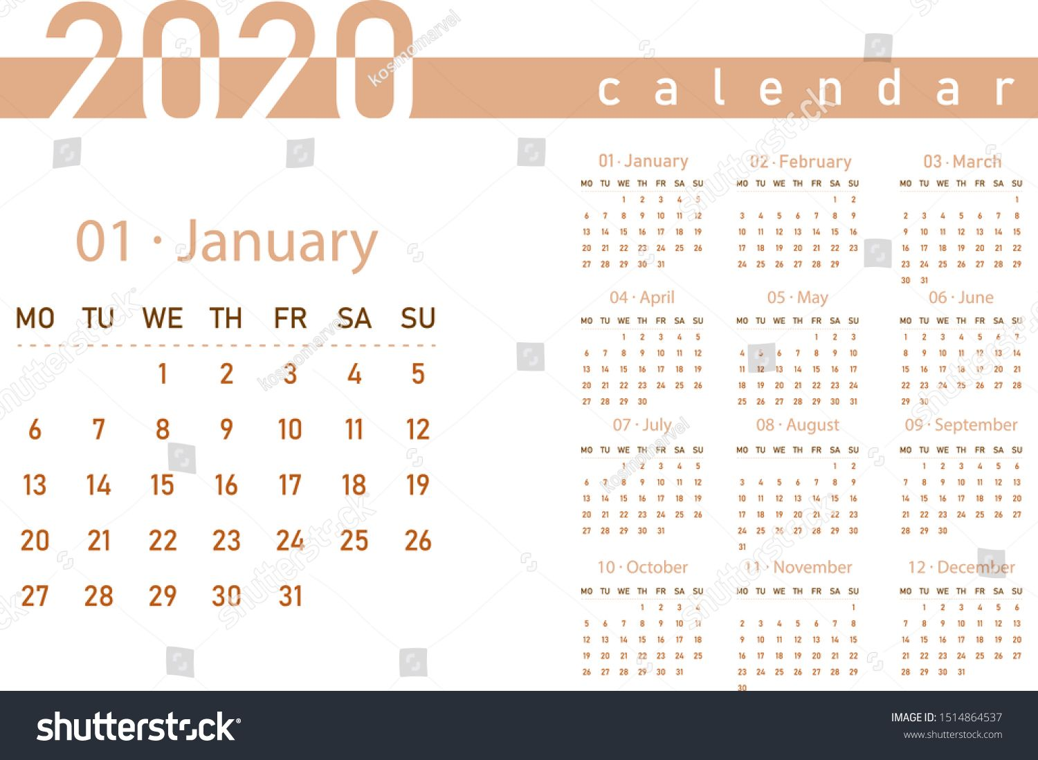 Calendar 2020 Year Grid Design Isolated On White Background