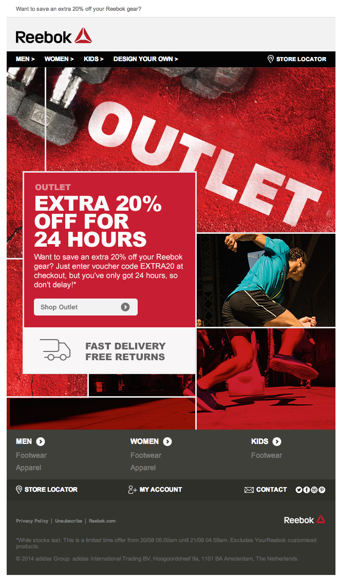 Reebok Newsletter Ideas Fashion Sport Ecommerce Newsletter  Good