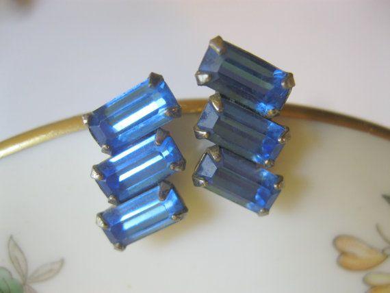 Vintage Sapphire Blue Rhinestone Earrings by Sisters2Vintage,