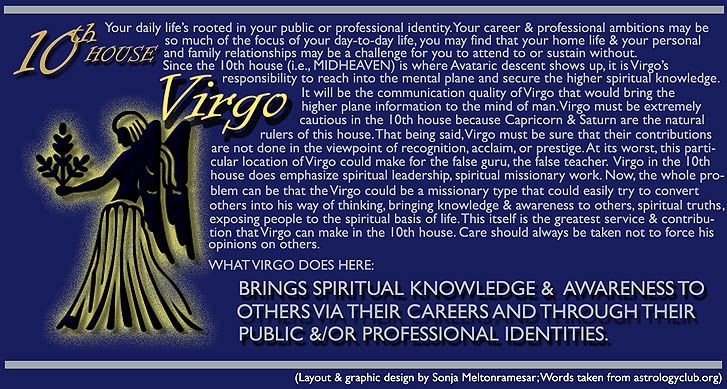 VIRGO in my 10th house of CAREER/FATHER/AUTHORITY/STATUS