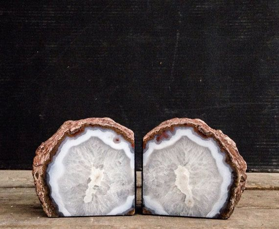 White And Grey Natural Agate Geode Book Ends Sliced Geode