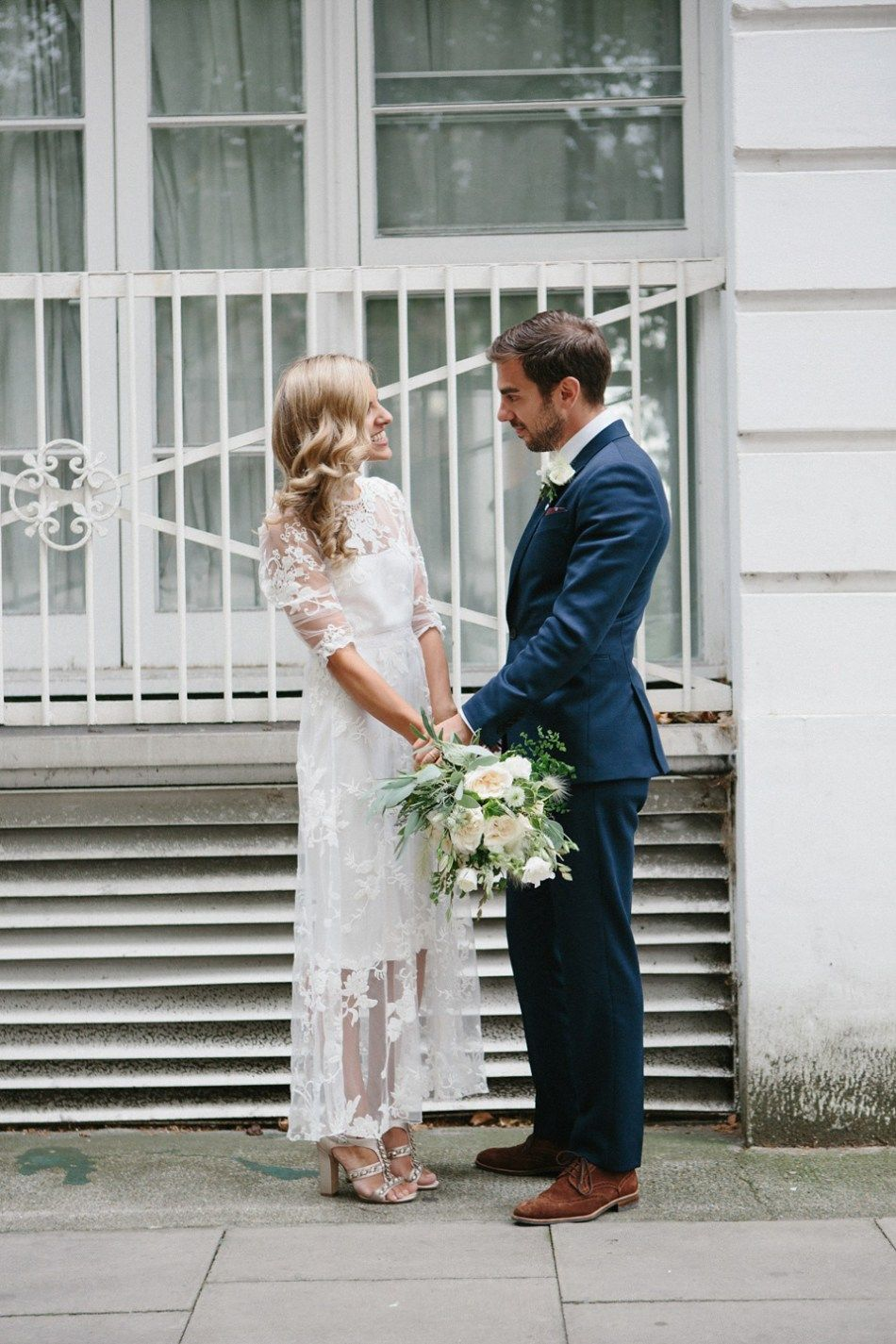 A vintage gown for a stylish lowkey and relaxed london pub wedding