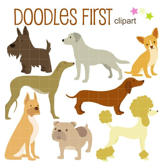 Lovable Dog Breeds Digital Clip Art for Scrapbooking Card Making Cupcake Toppers Paper Crafts