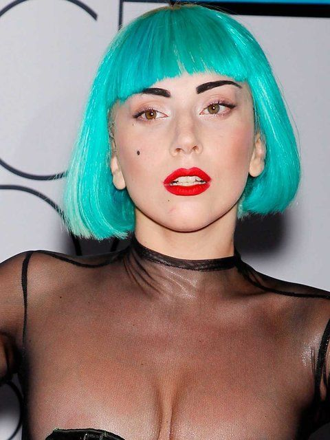 Proving turquoise isn't always hard to pull off, Lady Gaga's super blunt bob was epic.