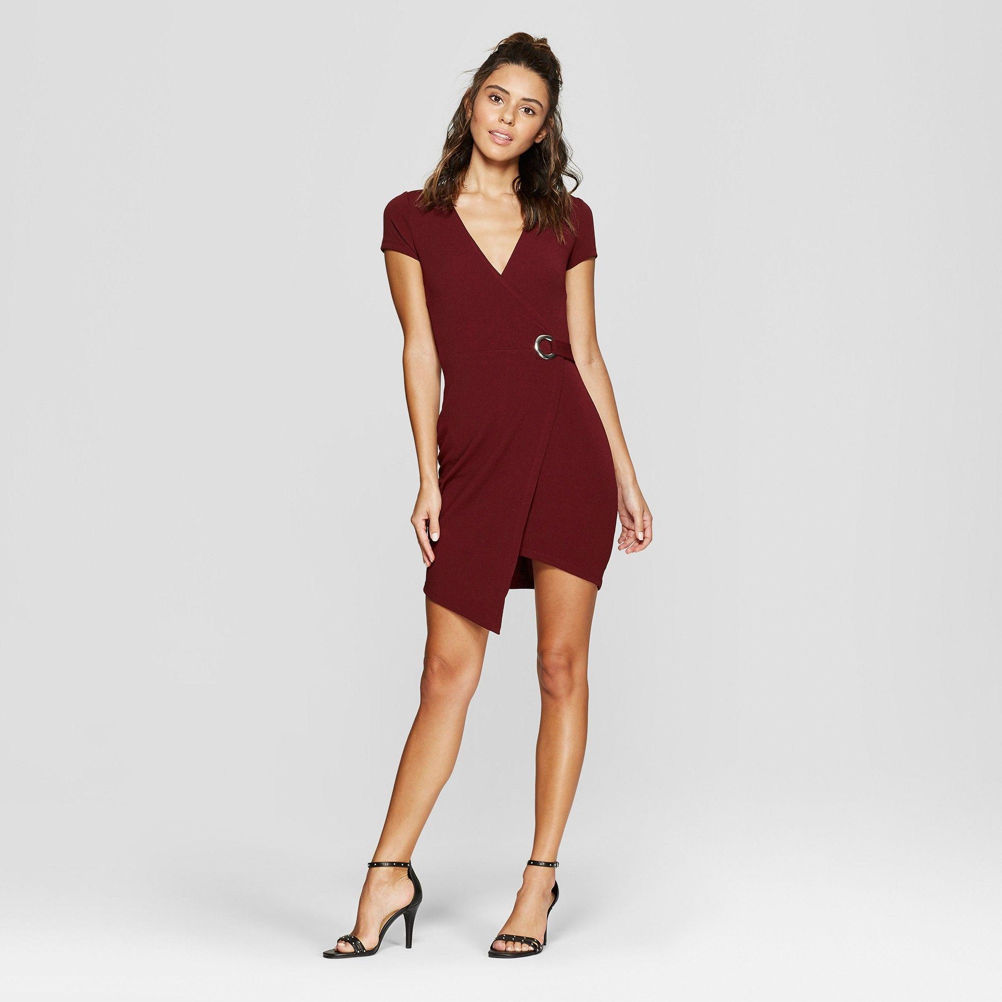 119fcf21a Women's Short Sleeve Wrap Dress - Almost Famous (Juniors') Burgundy XL, Red