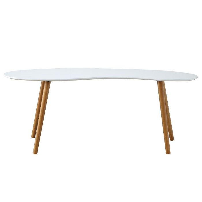 Oslo Bean Shaped Coffee Table White Bamboo Breighton Home Coffee Table White Coffee Table Mcm Coffee Table