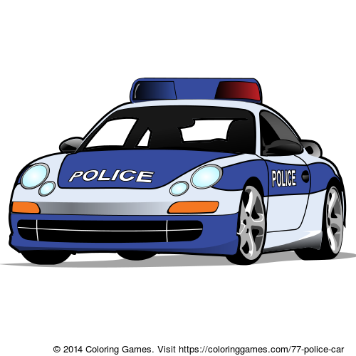 Police car coloring page & online coloring game for kids ...