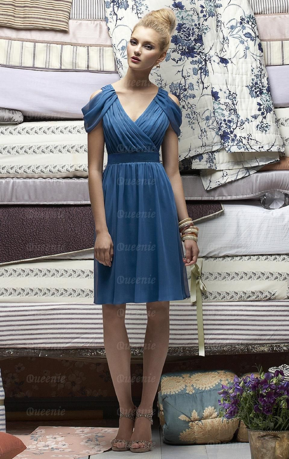Stunning Chiffon Blue Bridesmaid Dresses BNNAK0078-Bridesmaid UK ...