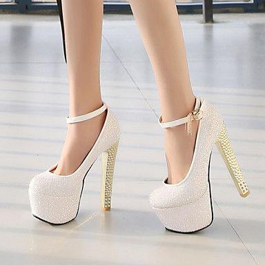 59 39 Damskie Derma Wiosna Lato Jesien Masywny Obcas Bialy Niebieski Rozowy Slub Sukienka Heels Stiletto Heels Bling Wedding Shoes