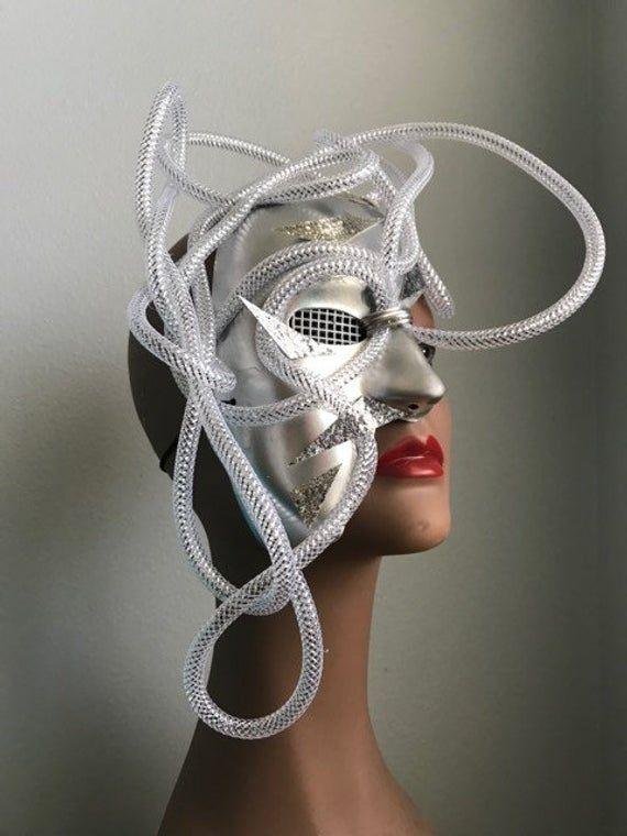Silver Cyborg Robot scify droid headpiece futuristic half ...
