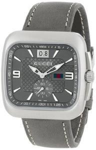 Gucci Men's YA131313 Gucci Coupe Anthracite Sun-Brushed Diamond Pattern Dial Watch