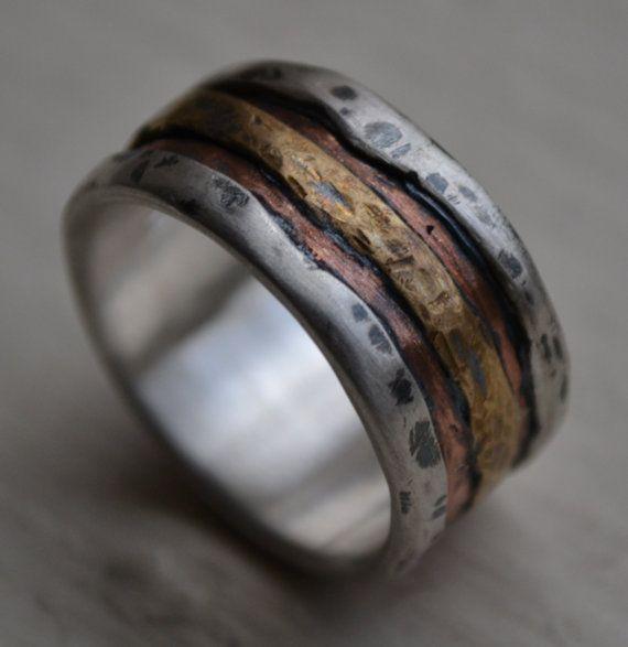 Mens Wedding Band Rustic Fine Silver Copper And Brass Or 14k Etsy Rustic Wedding Bands Mens Wedding Bands Wedding Men