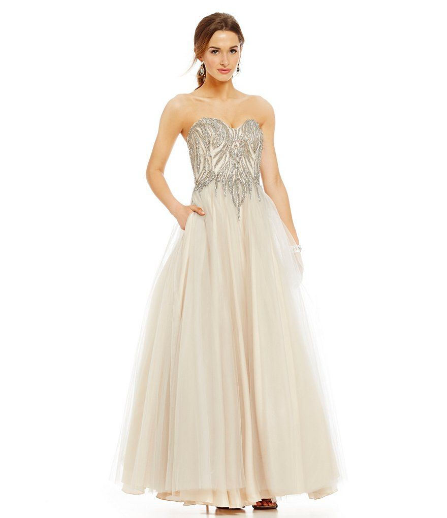 Glamour by Terani Couture Beaded Sweetheart Bodice Ball Gown | Prom ...