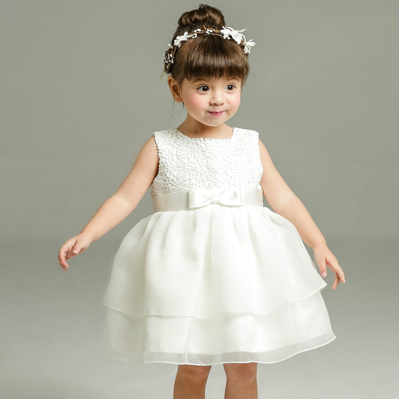 05f5e0493ebba 1 Year Old Baby Girl Dress Beige Princess Wedding Birthday Formal ...